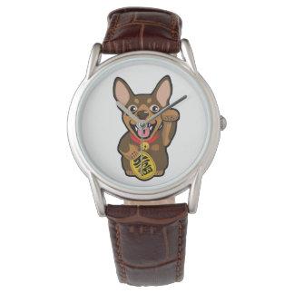ミニチュア・ピンシャーチョコレート最低Pin犬の腕時計 腕時計