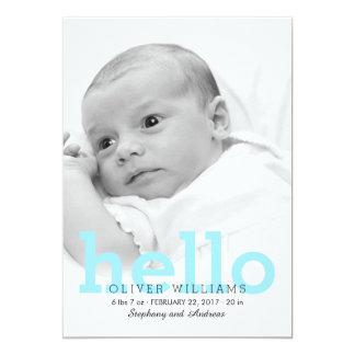 ミニマリストのこんにちは赤ん坊の誕生の写真の発表 12.7 X 17.8 インビテーションカード