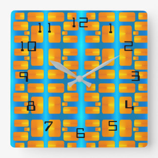 ミニマリズムの抽象的な水および明るいオレンジ スクエア壁時計