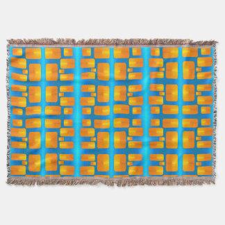 ミニマリズムの抽象的な水および明るいオレンジ スローブランケット