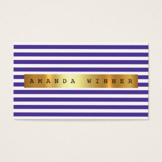 ミニマリズムの紫色の白のストライプVip金ホイル 名刺