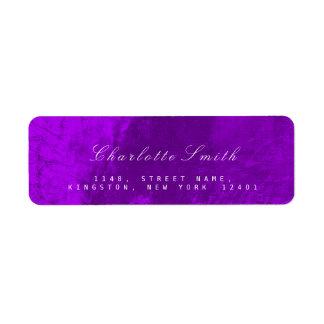 ミニマリズムの紫色の金属差出人住所ラベル ラベル