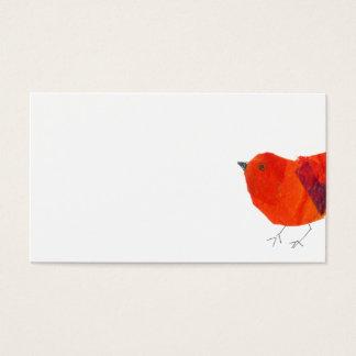 ミニマルで及び芸術的な動物の美しく赤い鳥のコラージュ 名刺