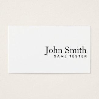 ミニマルで明白で白いゲームのテストの名刺 名刺
