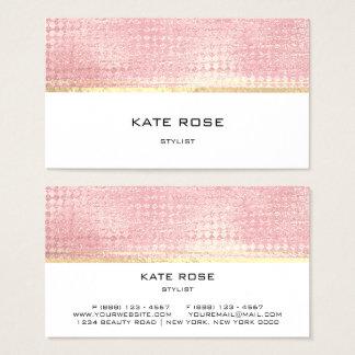 ミニマルなばら色の金ゴールドのモモのピンクの白のスタイリスト 名刺