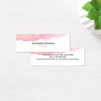 ミニマルなエレガントな水彩画のピンク スキニー名刺