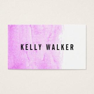 ミニマルなピンクおよび黒い水彩画 名刺