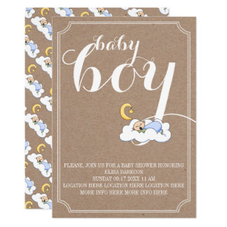 ミニマルな睡眠の男の赤ちゃんのシャワーのヴィンテージの文字 12.7 X 17.8 インビテーションカード
