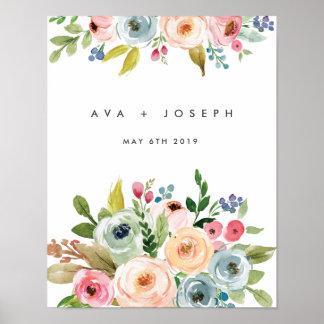 ミニマルな私達の結婚式への明るい植物の歓迎 ポスター