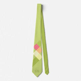 ミニマルな緑の正方形およびモノグラム カスタムネクタイ