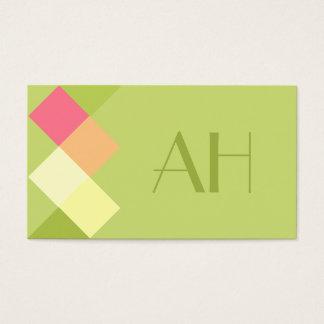 ミニマルな緑の正方形及びモノグラム 名刺