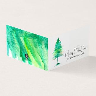 ミニメリークリスマス、水彩画Pinetreeの原稿 カード