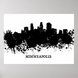 ミネアポリスのスカイライン- Splatのペンキ ポスター