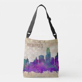 ミネアポリスのMN  の水彩画都市スカイライン クロスボディバッグ