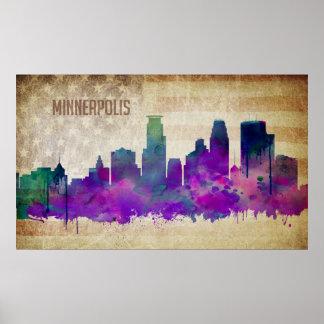 ミネアポリスのMN |の水彩画都市スカイライン ポスター