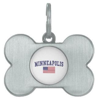 ミネアポリス米国の旗 ペットネームタグ