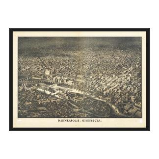 ミネアポリス、ミネソタ(1885年)の空中写真 キャンバスプリント