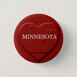 ミネソタのハートの地図のデザインボタン 3.2CM 丸型バッジ