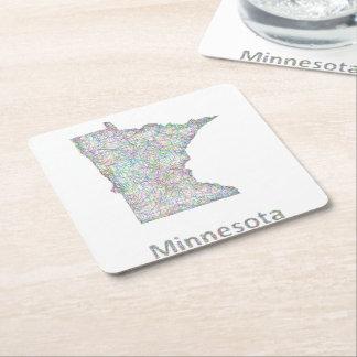 ミネソタの地図 スクエアペーパーコースター