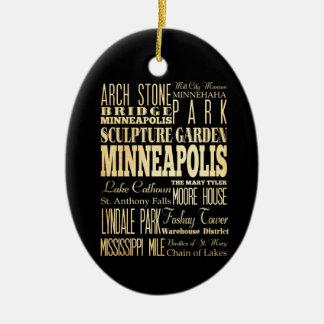 ミネソタの州のタイポグラフィの芸術のミネアポリス都市 セラミックオーナメント