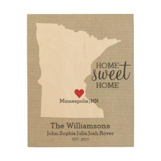 ミネソタの州愛カスタムな姓は確立します ウッドウォールアート