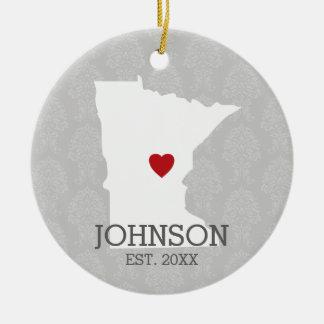 ミネソタの故郷の州都市地図-カスタムな結婚式 セラミックオーナメント