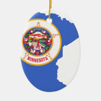 ミネソタの旗の地図 セラミックオーナメント