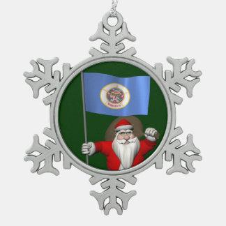 ミネソタの旗を持つサンタクロース スノーフレークピューターオーナメント