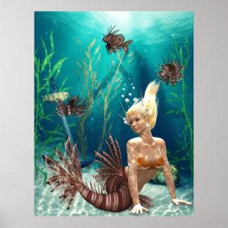 ミノカサゴの人魚ポスター ポスター