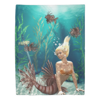 ミノカサゴの人魚(側面1)の対の羽毛布団カバー 掛け布団カバー