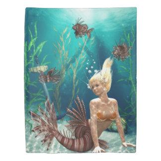 ミノカサゴの人魚(2人の側面)の対の羽毛布団カバー 掛け布団カバー