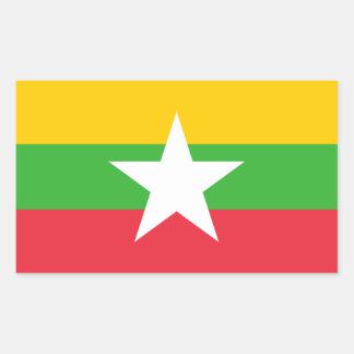 ミャンマーかMyanmareseビルマかビルマの旗 長方形シール