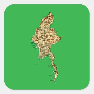 ミャンマーの地図のステッカー スクエアシール