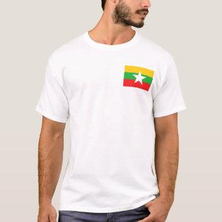 ミャンマーの旗および地図のTシャツ Tシャツ