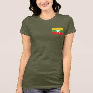 ミャンマーの旗および地図dkのTシャツ Tシャツ