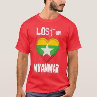 ミャンマーの旗のハートで失った Tシャツ