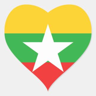 ミャンマーの旗のハートのステッカー ハートシール