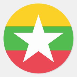 ミャンマーの旗の円形のステッカー(パック) ラウンドシール