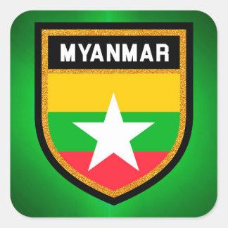 ミャンマーの旗 スクエアシール