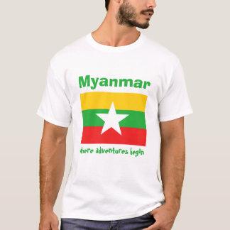 ミャンマーの旗 + 地図 + 文字のTシャツ Tシャツ