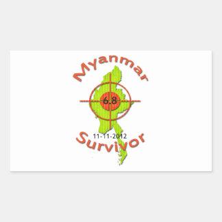 ミャンマーの生存者6.8の地震11-11-2012 長方形シール