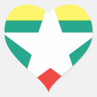 ミャンマー(ビルマ)の旗 ハートシール