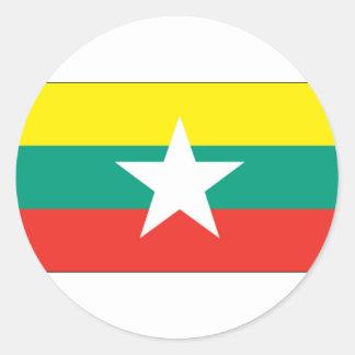 ミャンマー(ビルマ)の旗 ラウンドシール