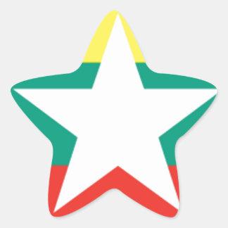 ミャンマー(ビルマ)の旗 星シール