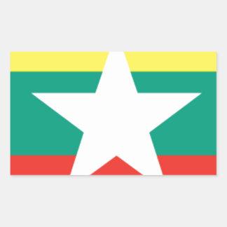 ミャンマー(ビルマ)の旗 長方形シール