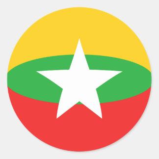 ミャンマーFisheyeの旗のステッカー ラウンドシール