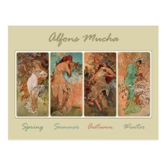 ミュシャによる春の夏の秋の冬 ポストカード