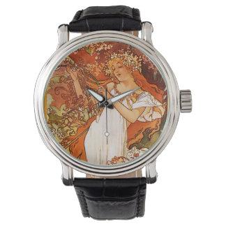 ミュシャのアールヌーボーの腕時計 腕時計