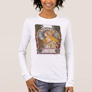 ミュシャのアールヌーボーのTシャツ- (占星術の)十二宮図- Laの羽毛 長袖Tシャツ