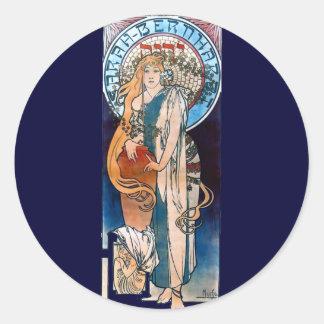 ミュシャのアールヌーボーのthatreの女性の長い毛 ラウンドシール